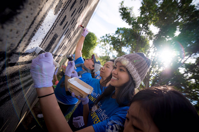 UC San Diego students volunteering for Martin Luther King Jr. Day of Service.