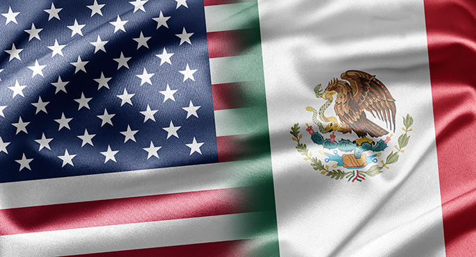 US, Mexico flags