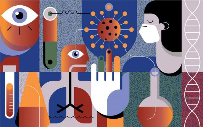 Lab pipette lab worker illustration