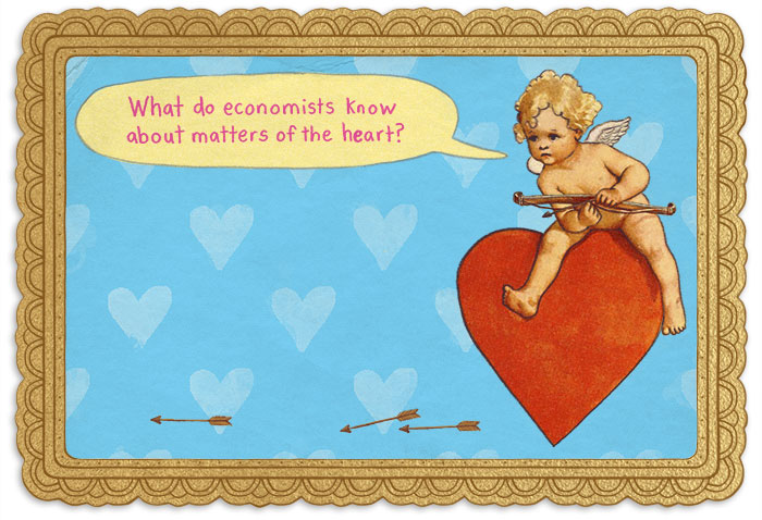 Cupid on a heart with a speech bubble