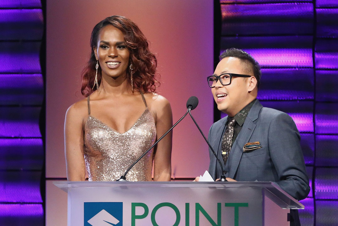 Vanessa Warri with Nico Santos at the podium at the Point Foundation gala