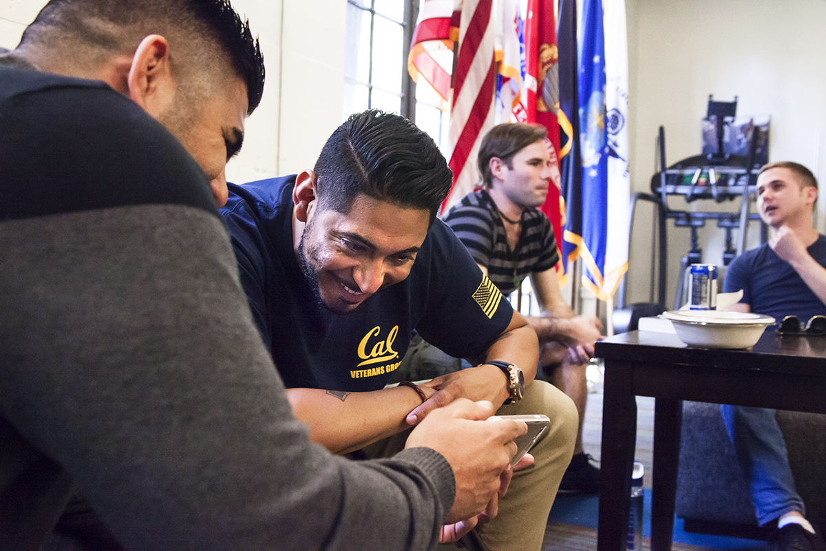 Brian Vargas with fellow students at the UC Berkeley Veterans Center