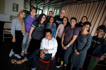 Carrie Mae Weems and students pose for a photo
