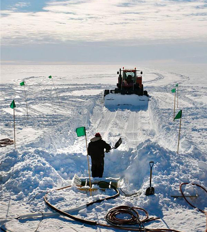 moving snow at WISSARD drill site