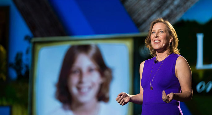 Susan Wojcicki speaking at a conference