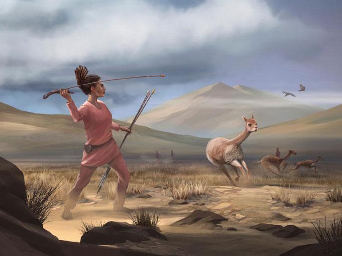 Illustration of prehistoric woman hunting big game