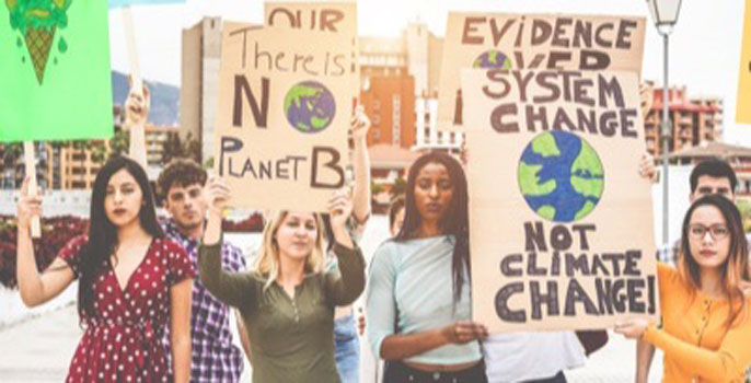 Young people protesting climate change